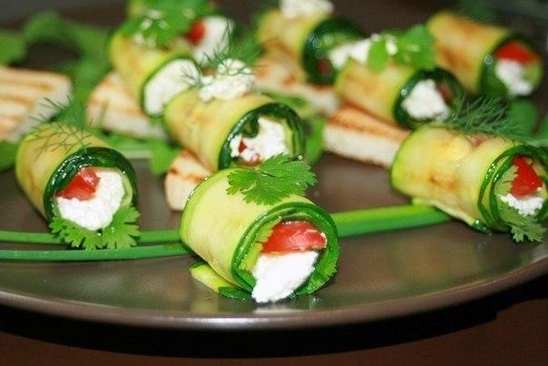 Роллы из кабачков с фото